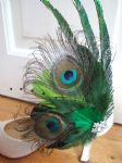 Bridal Curled Peacock Feathers Lime, Olive, Emerald Green Shoe Clips SCB118